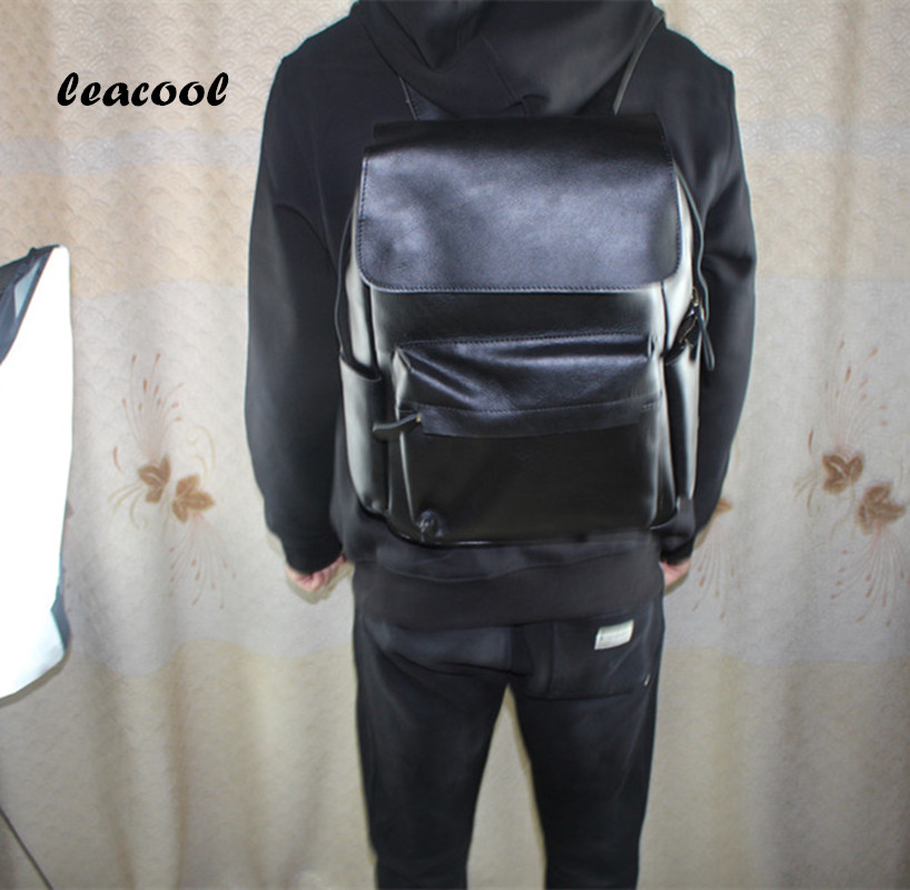 100% Genuine Leather Italy Brand 15inch Men Fashion Backpack Male Vintage School Bag Male Backpack for Teenagers male classic microfiber leather backpack