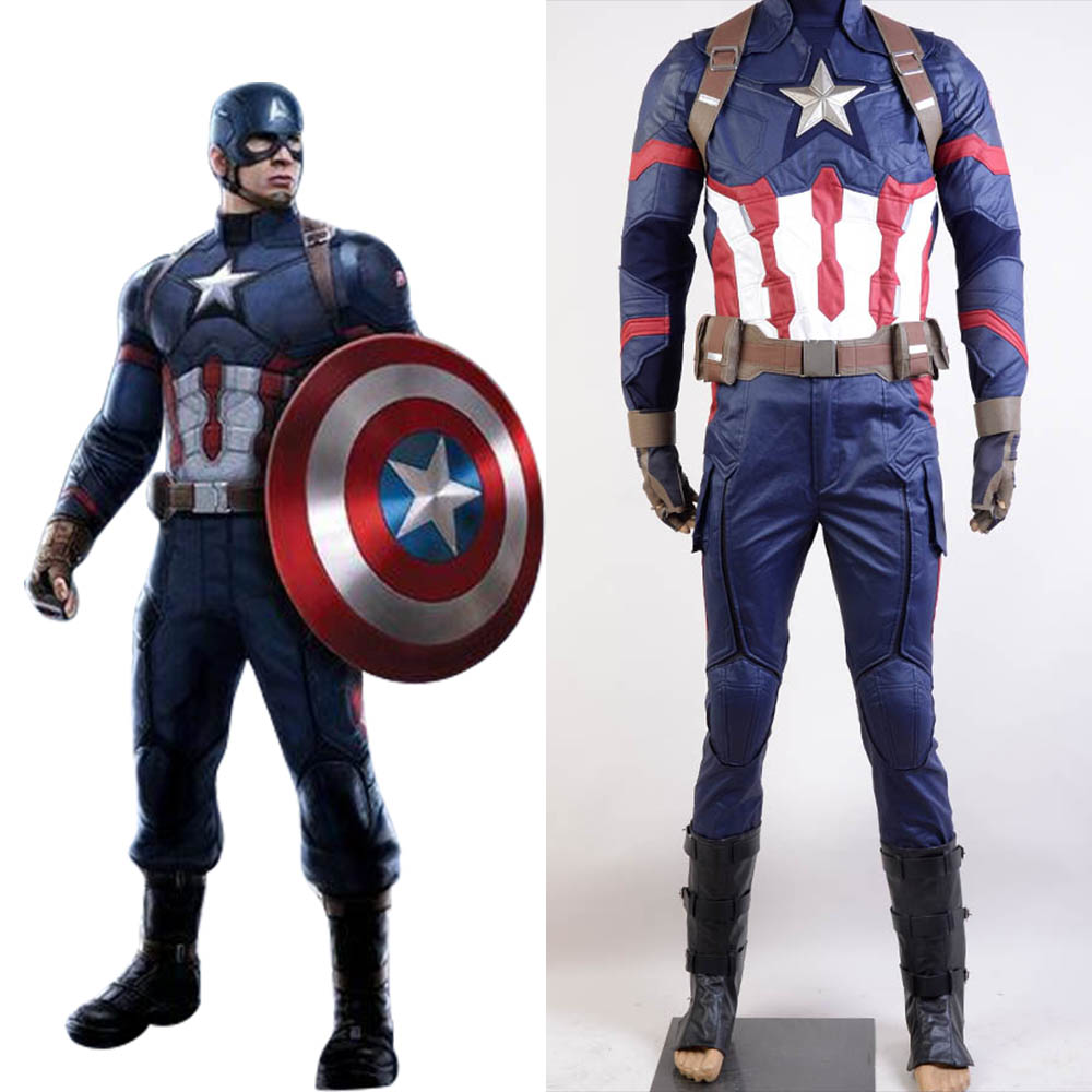 Captain America Cosplay Civil War Steve Rogers Uniform Halloween Party Carnival Avengers Cosplay Costume For Adult Men Full Set