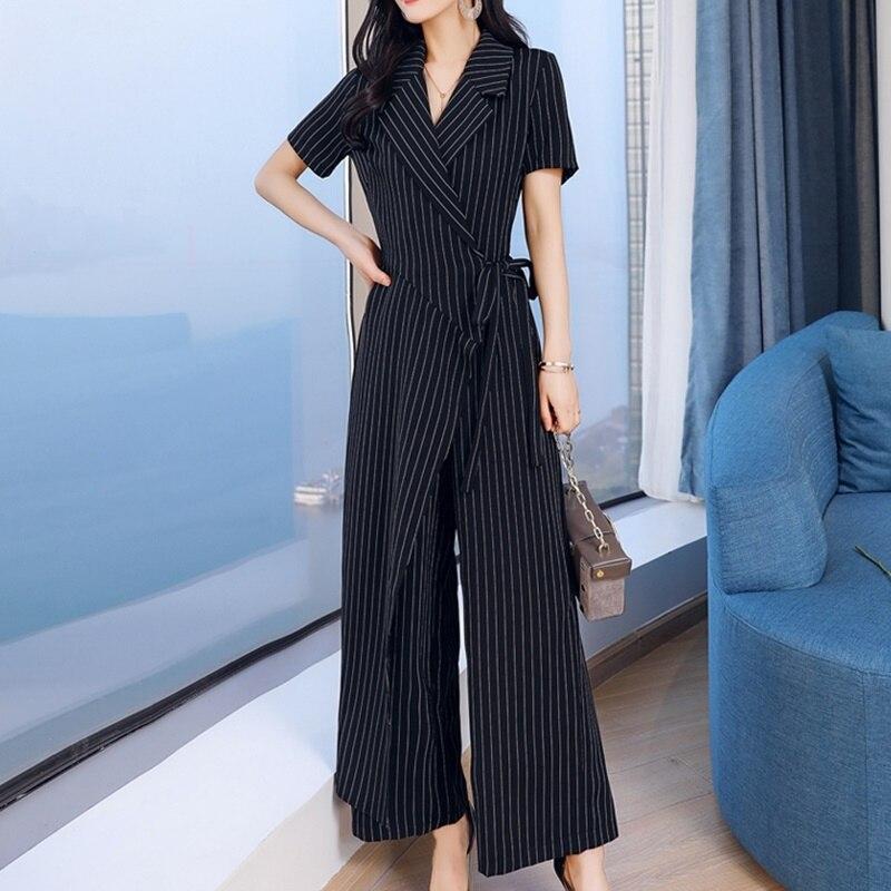 Летний комбинезон в полоску, 2019, короткий рукав, широкие штаны, для офиса, бизнеса, для девушек, элегантный комбинезон для женщин 2019 DD2071 - 5