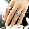 4PCS/Set Punk Party Club Bar Jewelry Ancient Silver Retro Carved Elephant Midi Rings For Women/Men Statement Joint Ring