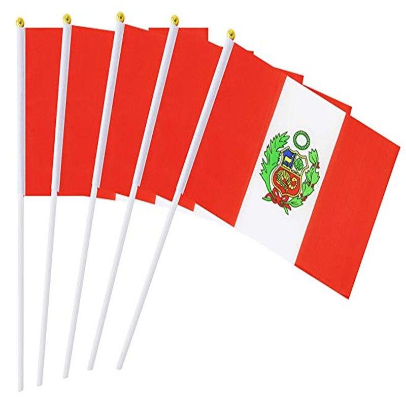 Perù Bastone Bandiera, 5 Pc Tenuto In Mano Di Bandiere Nazionali Sul Bastone 14*21 Centimetri