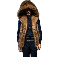 Luxury 2017 Winter Hooded Faux Fur Vest Men Sleeveless Hairy Thicken Warm Jacket Outerwear Coat Male