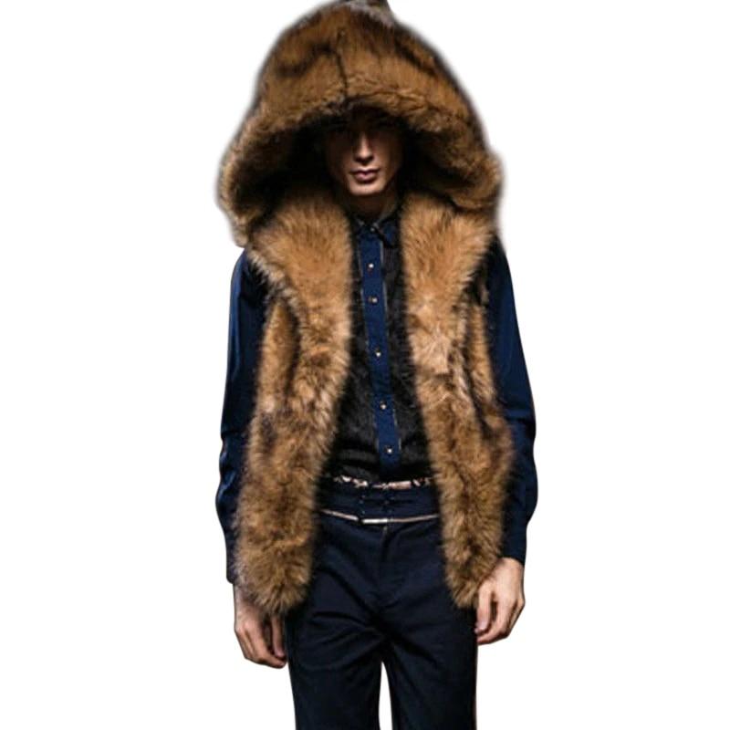 Fashion Hommes Fox fourrure Épaissir Vison Fourrure Gilet Hiver Gilet Fausse Fourrure Veste Capuche