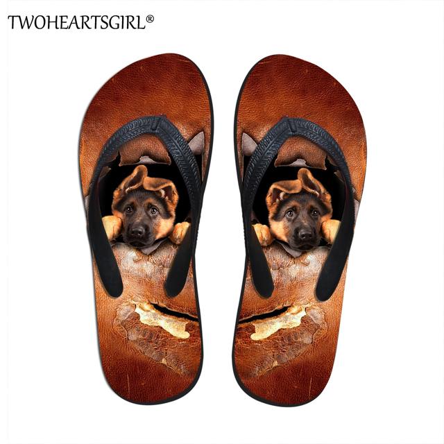 Twoheartsgirl German Shepherd Dog Pattern Men Flip Flop Summer Casual Outdoor Beach Flat Shoes Fashion Brand Slippers Designer
