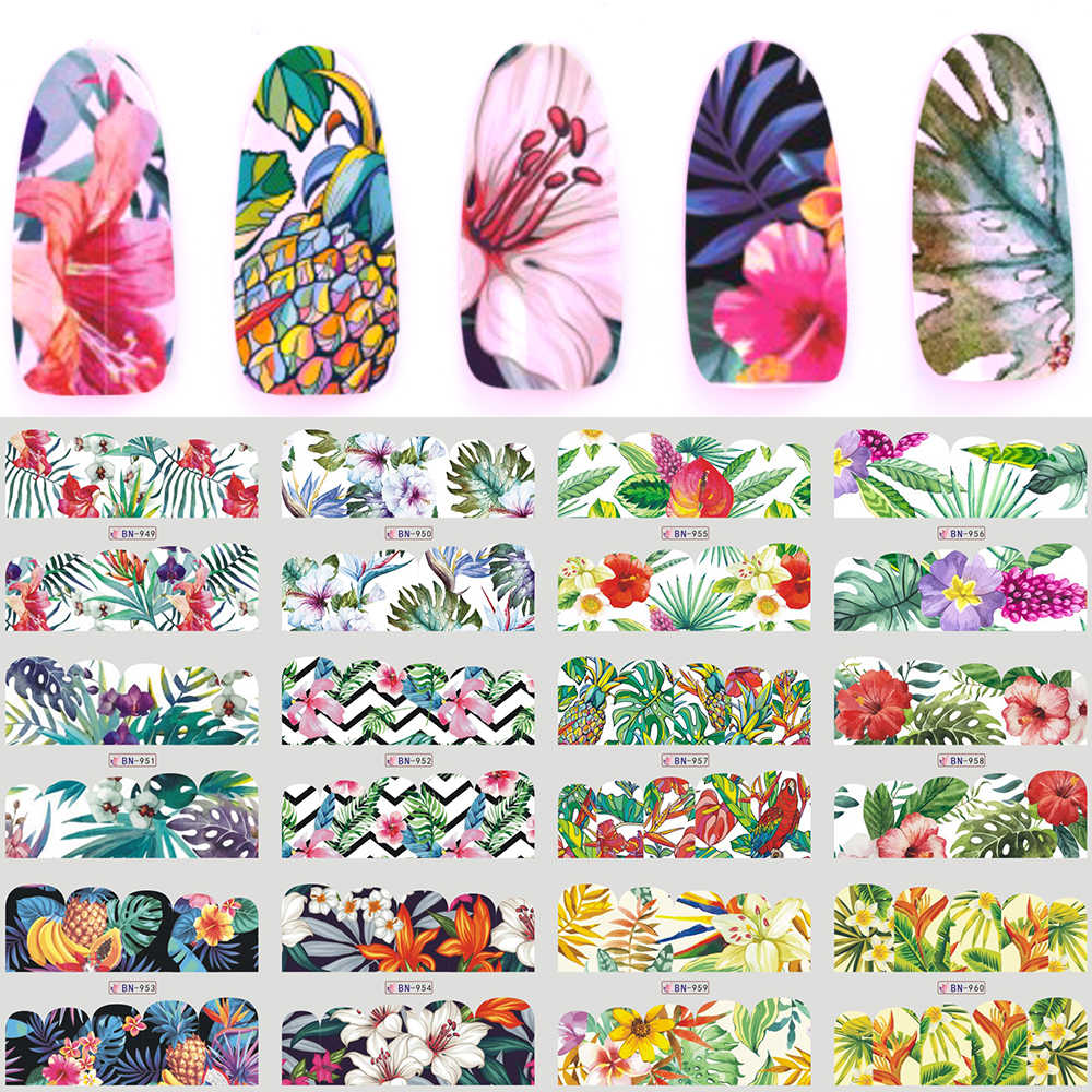 12 stks/set Nail Sticker Water Decals Bloem Flamingo Fruit Groen Jungle Zomer Sliders Decoratie voor Nail Art Polish TRBN949-960