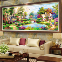 New Full Round Drill Diy Diamond Embroidery Kit Scenery Garden House Diamond Painting For Living Room Wall Art Decoration