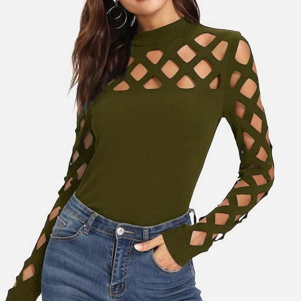 חולצה נשים בגדי 2019 נשים חולצות וחולצות וינטג הולו מתוך ארוך שרוול גבירותיי חולצות Streetwear טוניקת אופנה בגדים