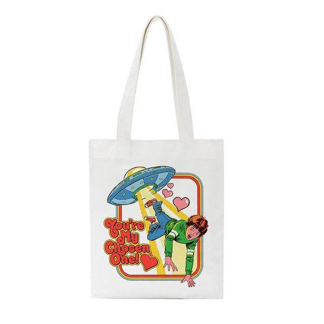 Summer Evil Devil Letter Print Funny New Women's Canvas Large Capacity Vintage Shoulder Bag Harajuku Cartoon Casual Bags
