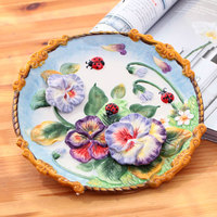 Ceative flower china porcelain decorative flat plate for hanging ceramic relief hand painted plate wedding decor