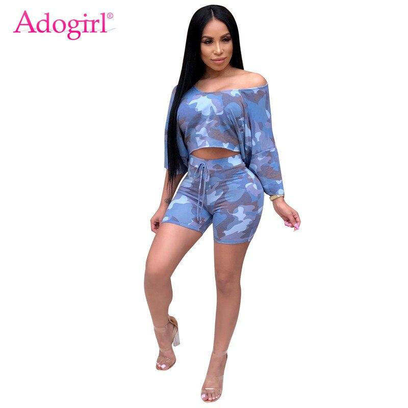 1666d9a6b37d Adogirl Camo Print Women Tracksuit Off Shoulder Batwing Sleeve Crop Top T  Shirt Summer Shorts Casual