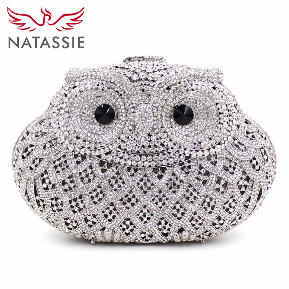 Wanita Malam Owl NATASSIE Tas Ladies Fashion Emas Kopling Purses Perempuan Pernikahan Purses