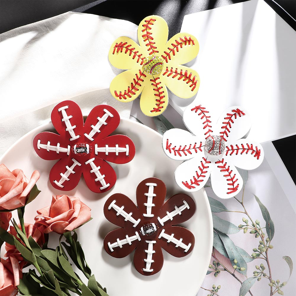 4 Inch Top Rhinestone Softball Baseball Hairpins Leather Flower Hairclips Handmade Women Girls Hair Bows Strong Resistance To Heat And Hard Wearing Girl's Hair Accessories Apparel Accessories