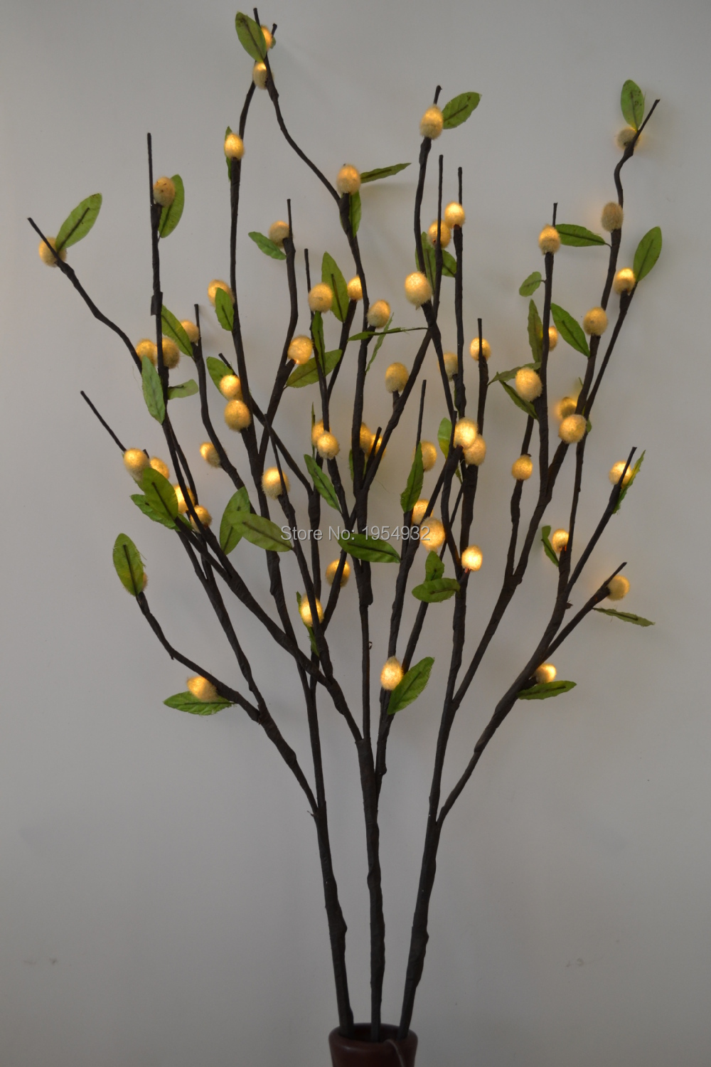 pussy willow branch light 40 with 60led plus green leaf