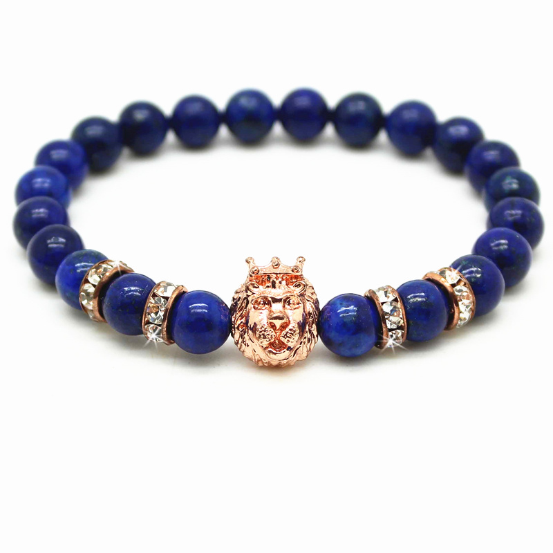 New Blue Beads Gold and Silver Plated Leo Lion Head Bracelet Men Blue Lapis Lazuli Stone Beads Charm Bracelets Jewelry Plusera