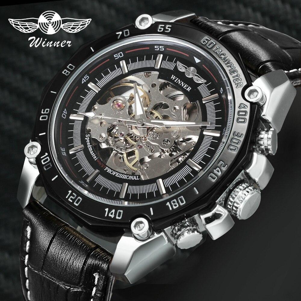 WINNER Fashion Sporty Men Automatic Mechanical Watch Leather Strap Black Skeleton Dial FORSINING Boyfriend Punk Wrist Watches
