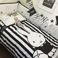 Nordic Cuna Parachoques Conejo de Dibujos Animados Juego de Cama de Algodón Negro Clásico Blanco Parachoques Bebé Cama Alrededor Transpirable ropa de Cama de Bebé