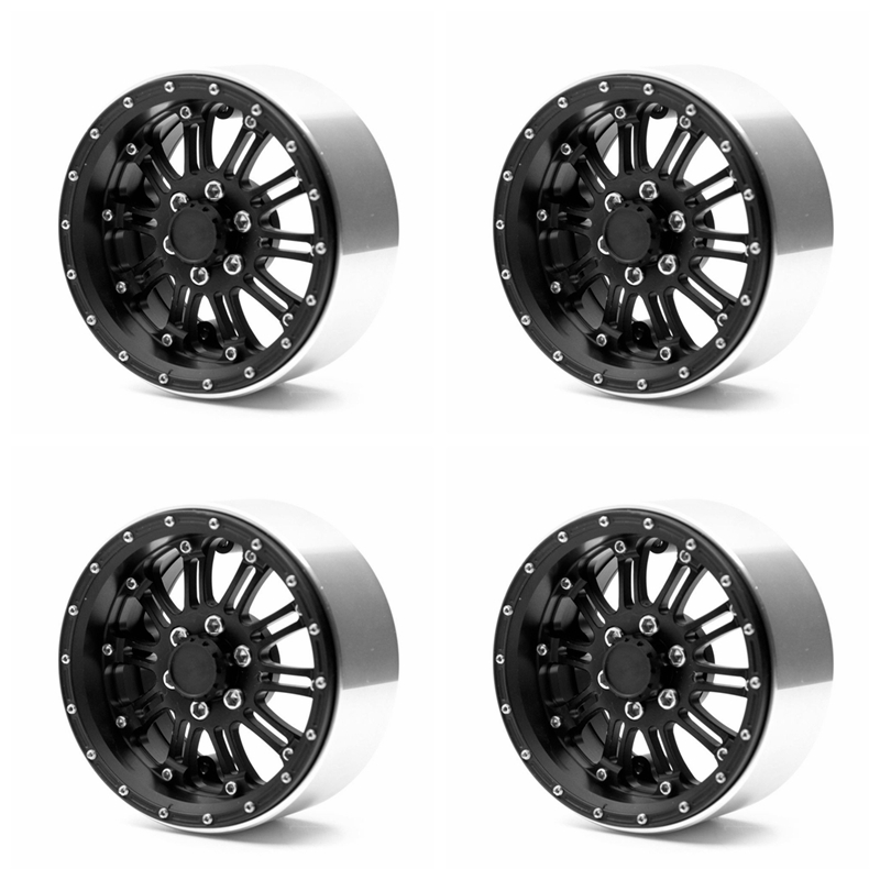 4Pcs 1/10 RC Crawler Axial Wraith 2.2inch Alloy Beadlock Wheel Rims with 29mm Hub Rock Crawler RC WRAITH Off Road mxfans rc 1 10 2 2 crawler car inflatable tires black alloy beadlock pack of 4