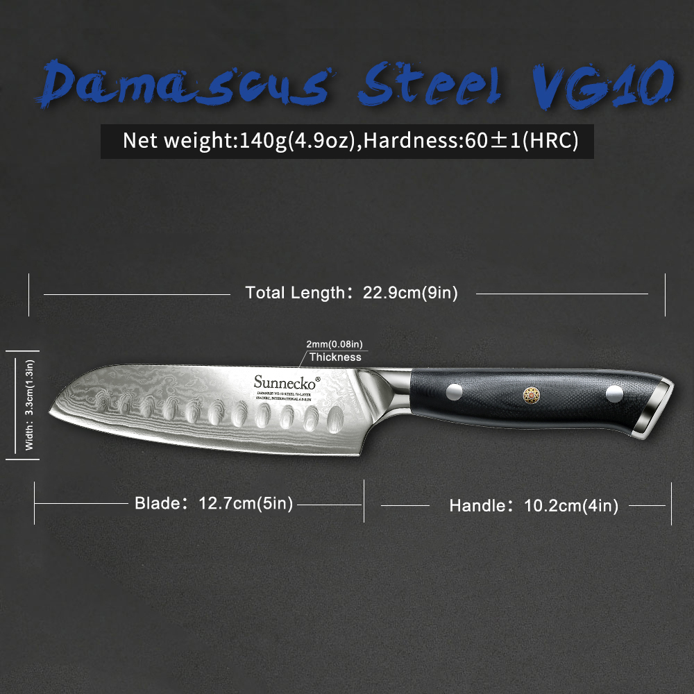 Image 5 - Sunnecko 5/7 Santoku Chef Knife Kitchen Knives Japanese  Damascus VG10 Steel Razor Sharp Blade Meat Cutting Tools G10  HandleKitchen Knives