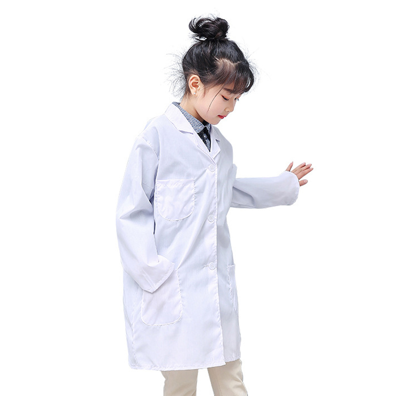 TopTie Kids White Lab Coat 2 Pockets Long Sleeve Child Role Play Costume