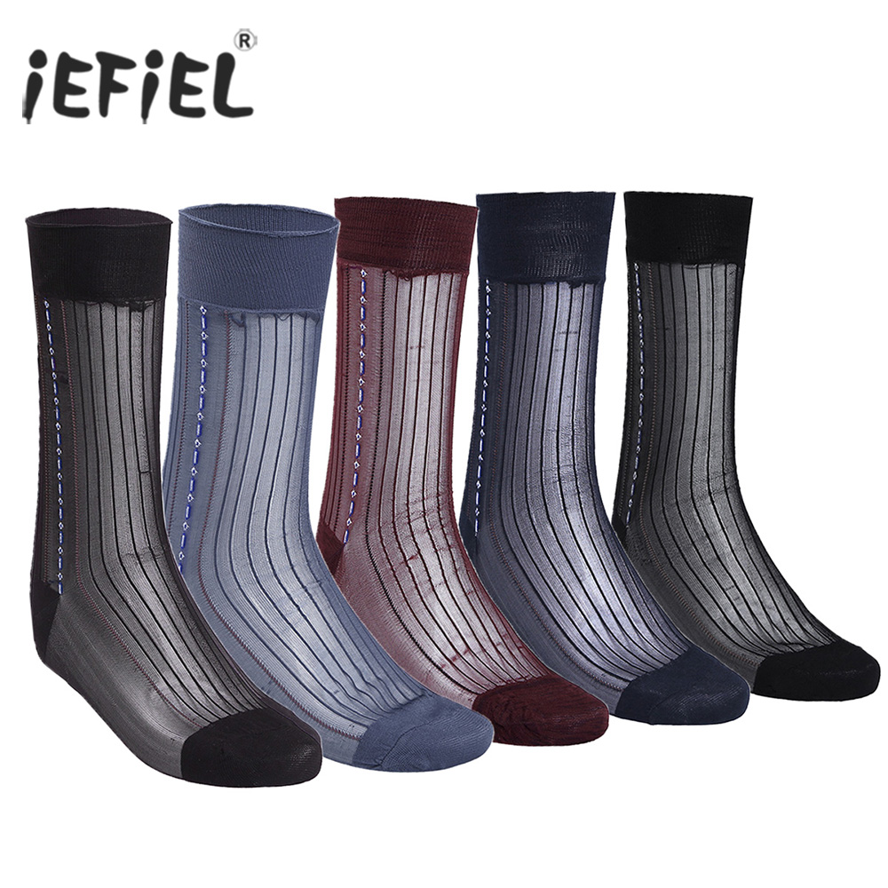 3 Pairs Black Men Casual Summer Over The Calf Striped Jacquard Sheer Silk Socks Breathable with Striped Jacquard Pattern Socks