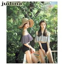 Judina Bikini set Japan South Korea 2017 latest popular style small fresh Word shoulder dew shoulder high waist female swimsuit