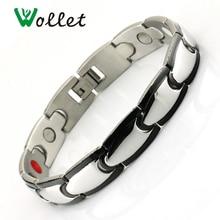 лучшая цена Health Magnetic Therapy  tourmaline germanium Stainless Steel Bracelets Menl Black Bracelets Men/Designer Men Fashion Jewelry