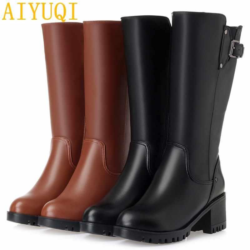 AIYUQI/2019 г. Новые женские зимние ботинки из натуральной кожи теплая плотная шерсть женские зимние ботинки Большие размеры 41, 42, 43, зимние ботинки на высоком каблуке