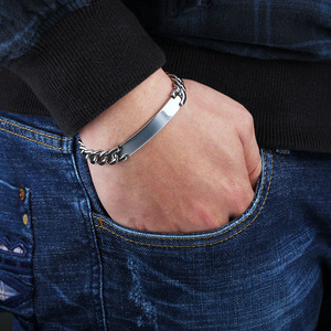 Image 5 - パーソナライズされた彫刻シルバー男性ブレスレットファッションチタン鋼ブレスレット & バングル男性ベストギフトmemの (jewelora BA101336)