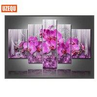 UzeQu 5pcs Diamond Painting Flower Orchid Cross Stitch Multi Picture Diamond Embroidery Full Square Rhinestones Painting