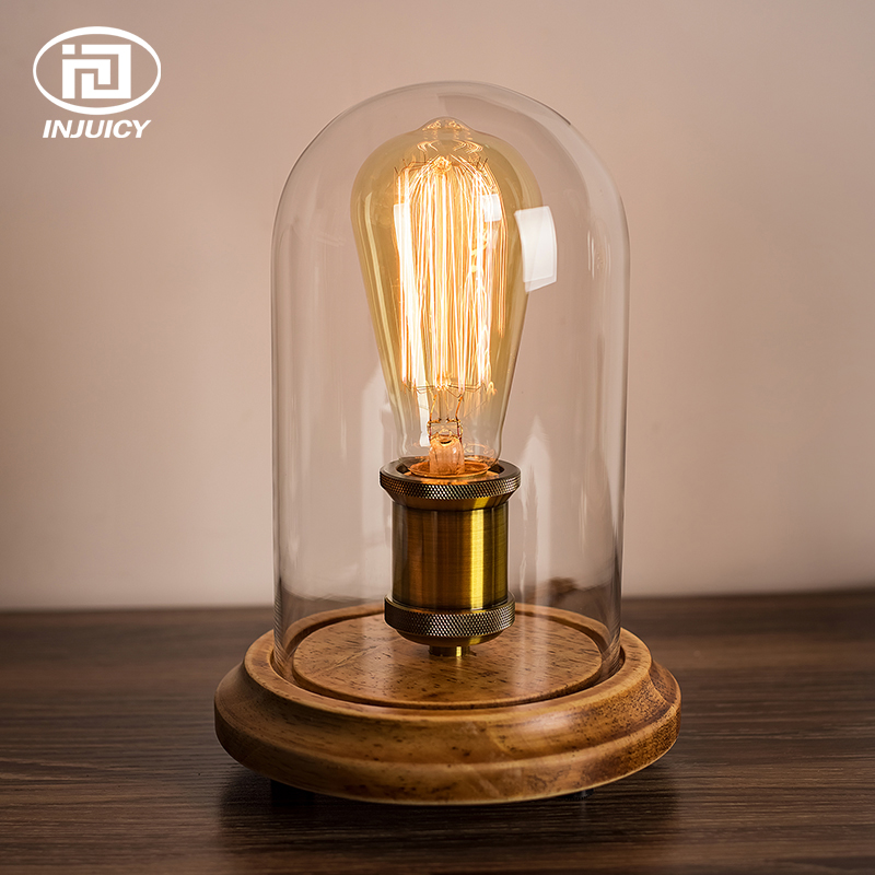 Vintage Edison Bulb Table Lights Retro Wooden Base & Clear Glass Shade Deak Lamp for Bedroom Study Bedside Cafe Decor