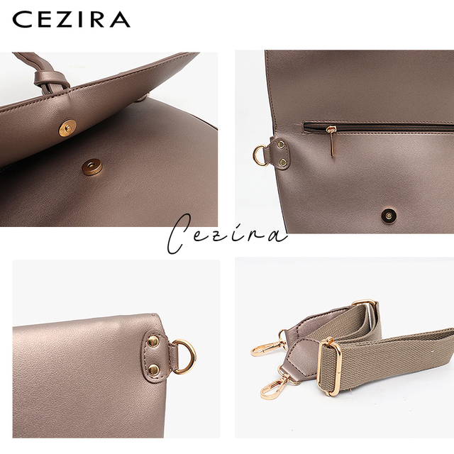 CEZIRA Brand Designer Women Shoulder Flap Bags High Quality Vegan Leather Handbag Ladies Solid Girl Fashion Cross body Messenger 3
