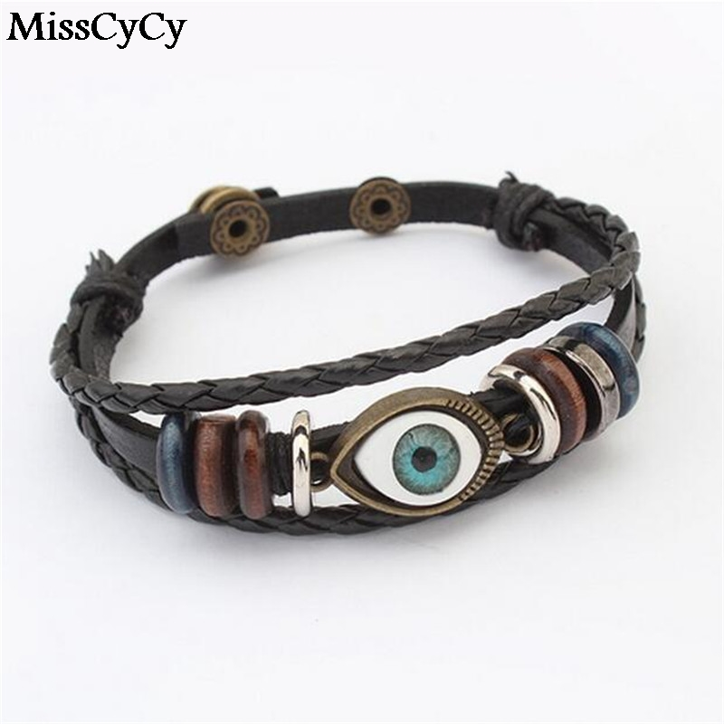 Punk Turkish Evil Eye Bracelets Wristband Female Genuine Leather Bracelet Ethnic Vintage Jewelry For Women Men Bijouterie