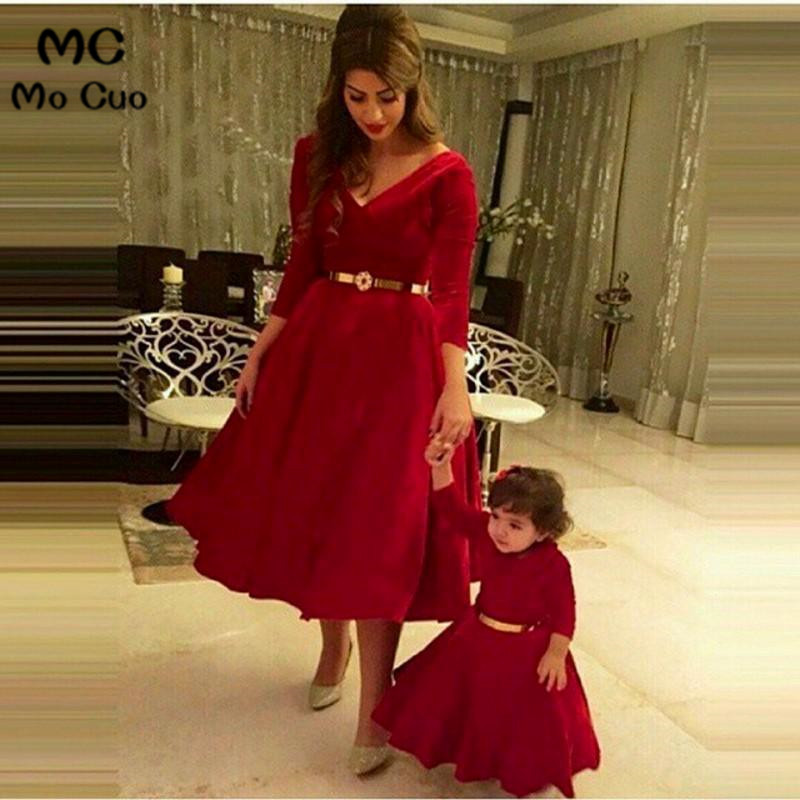 2018 3/4 sleeve Velvet   Flower     Girl     Dress   for Weddings First Communion   Dresses   for   Girls   Mother and Daughter Matchin   Dresses