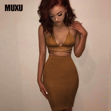 fashion sexy backless bodycon two piece set suspender dress vestidos mujer club womens clothing gold party sleeveless jurk