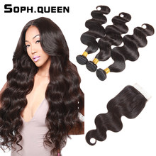 Soph Queen Hair Brazilian Body Wave Bundles With Closure Brazilian Hair Weave Bundles 100% Remy Human Hair Bundles With Closure(China)