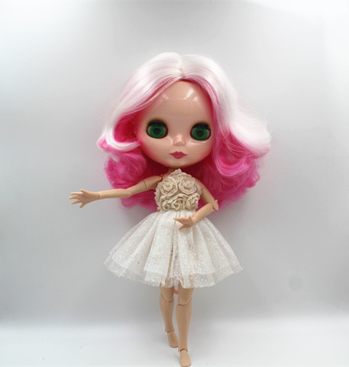 Blygirl Blyth doll White pink mixed short hair nude doll 30cm joint body 19 joint DIY doll can change makeup toys gift blyth nude 30cm fashion red and black boneca cabelos longos bonecos colecionaveis doll toys for children girls