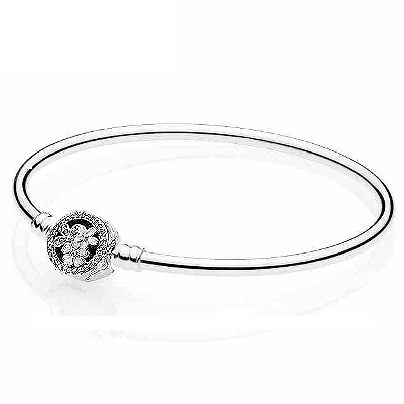 New 925 Sterling Silver Bangle Poetic Blooms Clasp Snake Chain Bracelet Bangle Fit Women Bead Charm DIY JewelryNew 925 Sterling Silver Bangle Poetic Blooms Clasp Snake Chain Bracelet Bangle Fit Women Bead Charm DIY Jewelry