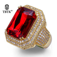 TBTK Red Gem Micro inlaid Bling Sparkling Zircon Stone Ring Punk Party Style for Man Gold Ring Unisex Hiphop Trendy Jewelry Gift