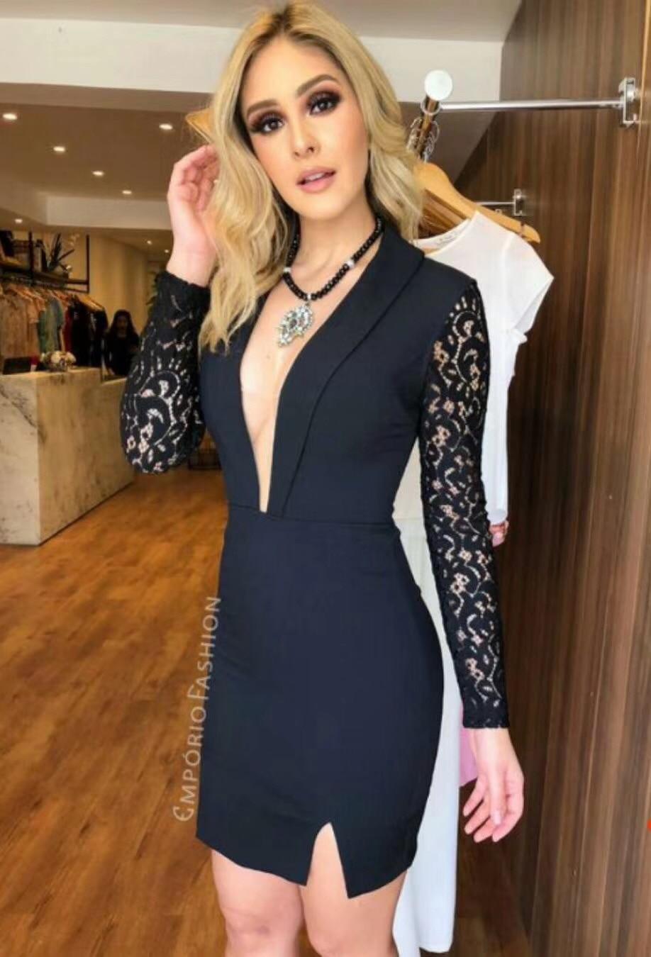Dalla Manicotto 2018 Sexy Di Merletto Modo Del Lungo Vestito Fasciatura Vestido Progettista Inverno Nero XwRzPqw