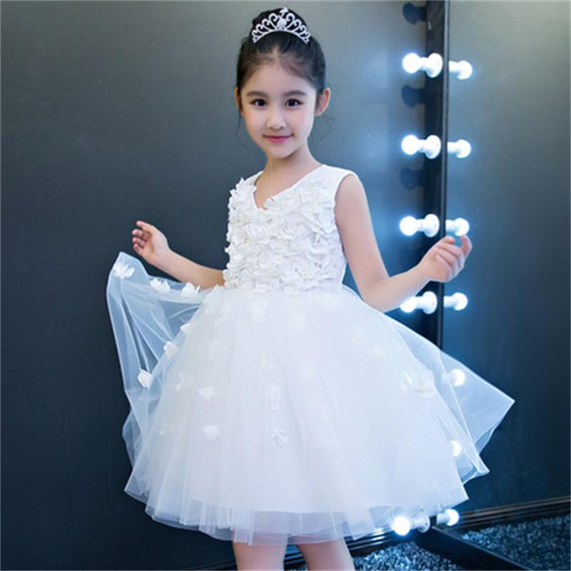 High quality new white children's wedding dress girls fluffy princess dress flower girl birthday dress costume мужские часы perrelet a1051 11