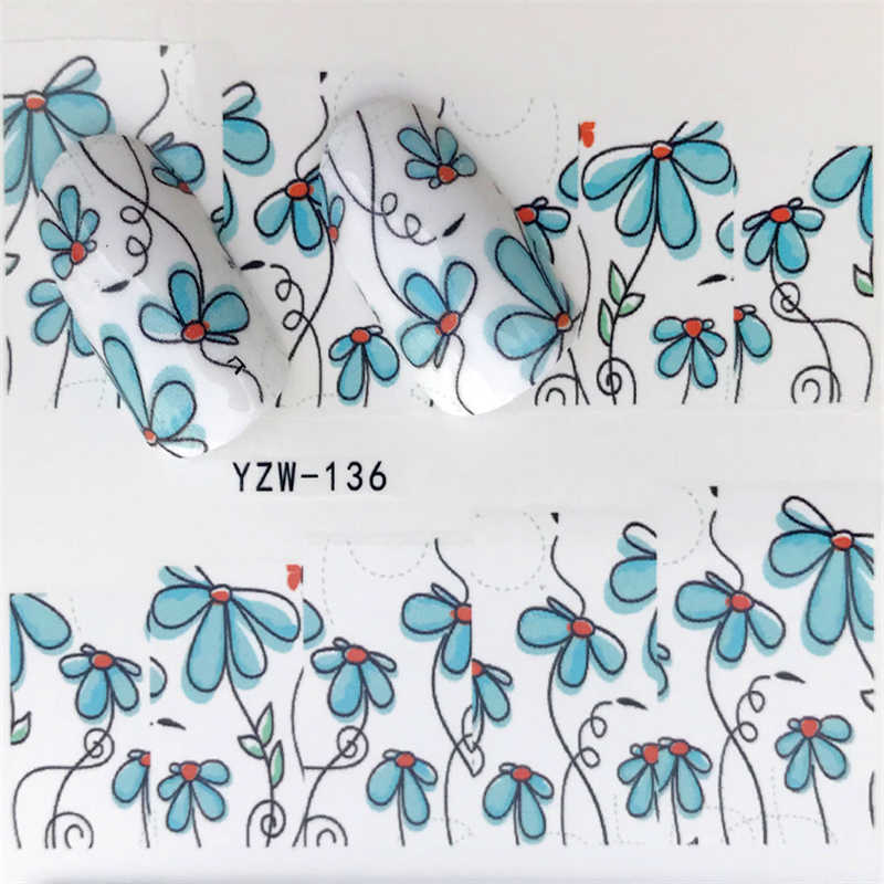 YWK 1pcs Water Gradient Blossom Flower Sticker for Nails Wraps Butterfly Flower Vine Designs Nail Art Decals