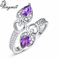 lingmei New Arrival Charm Water Drop Purple & Champagne CZ Silver Color Ring Size 6 7 8 9 Romantic Heart Fashion Women Jewelry