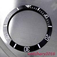 Yeni 39.9mm siyah seramik çerçeve beyaz işaretleri ekle izle fit otomatik hareketi erkek saati çerçeve