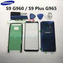 Para Samsung Galaxy S9 Plus S9 + G965F S9 G960 G960F Outer Lente Frontal Do Painel de Toque + Porta Traseira Da Bateria tampa da caixa de Vidro De volta