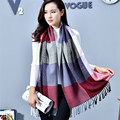 New arrival autumn winter tassel pashmina cashmere scarf grid patchwork scarf knitted shawl 200cm plaid for women lady