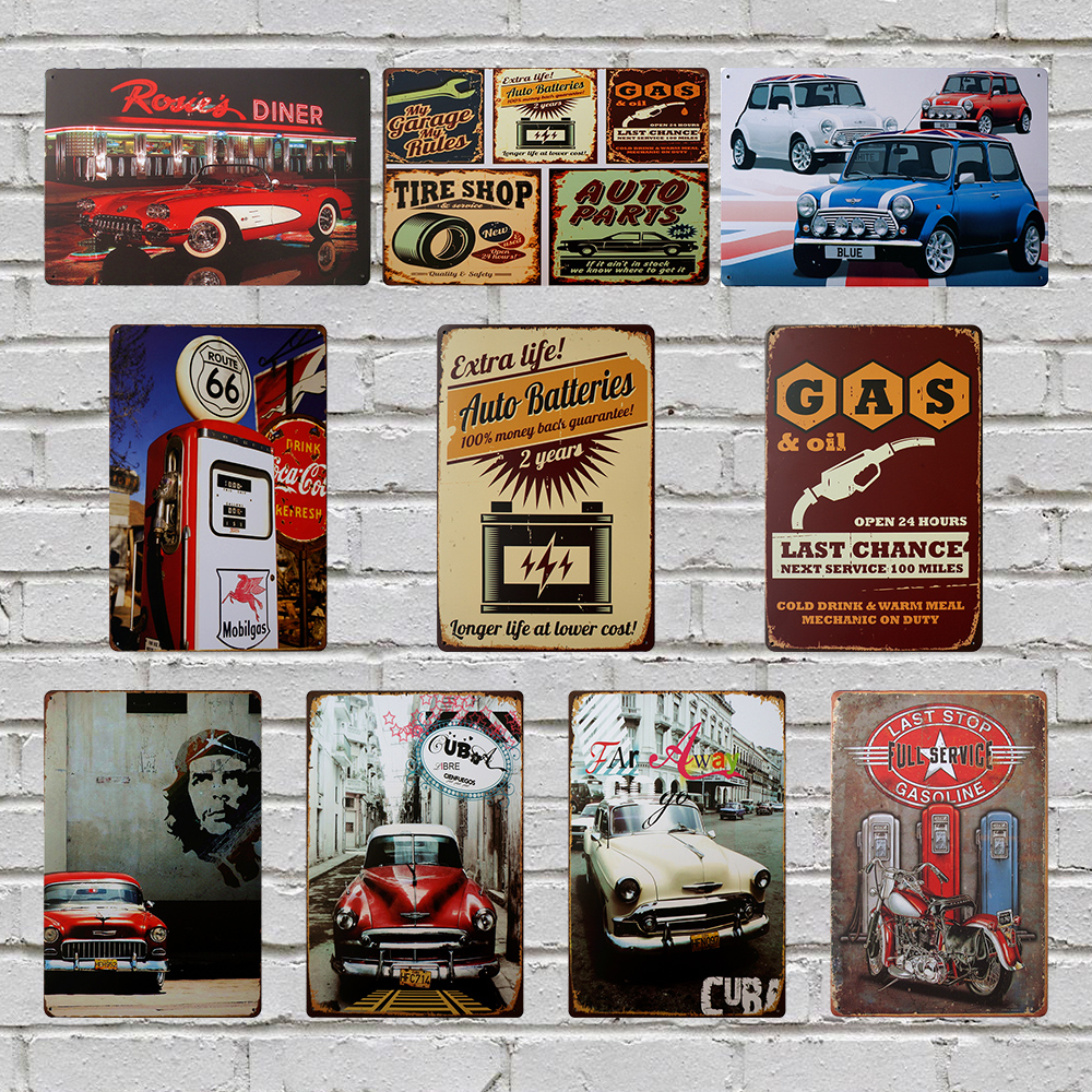Buy Car Gas Station vintage poster metal tin signs 20X30CM iron plate wall decor plaque club home bar shop cafe garage wall picture for $5.90 in AliExpress store