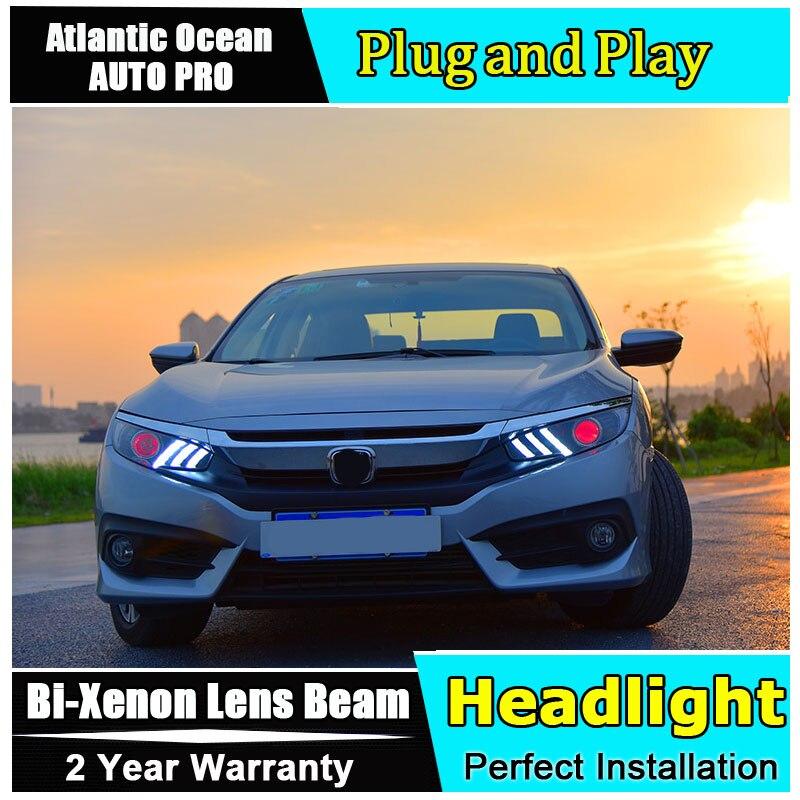 2016 2017 2018 for Honda Civic LED Headlights For Honda Civic head lamps Lens Double Beam