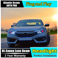 2016 2017 2018 for Honda Civic LED Headlights For Honda Civic head lamps Lens Double Beam H7 HID Xenon bi xenon lens Car Styling