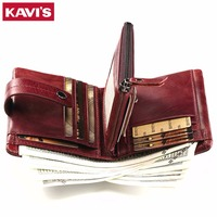 KAVIS Women Coin Purse Small Wallet Female Genuine Leather Walet Portomonee Clamp For Money Bag For