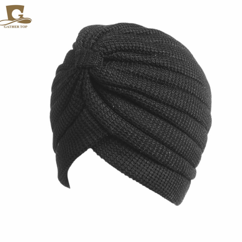 10 pcs/lot New fashion winter Cotton Turban Head Wrap Band Sleep Hat Indian Caps Scarf Hats Ear Cap turbante hair accessories